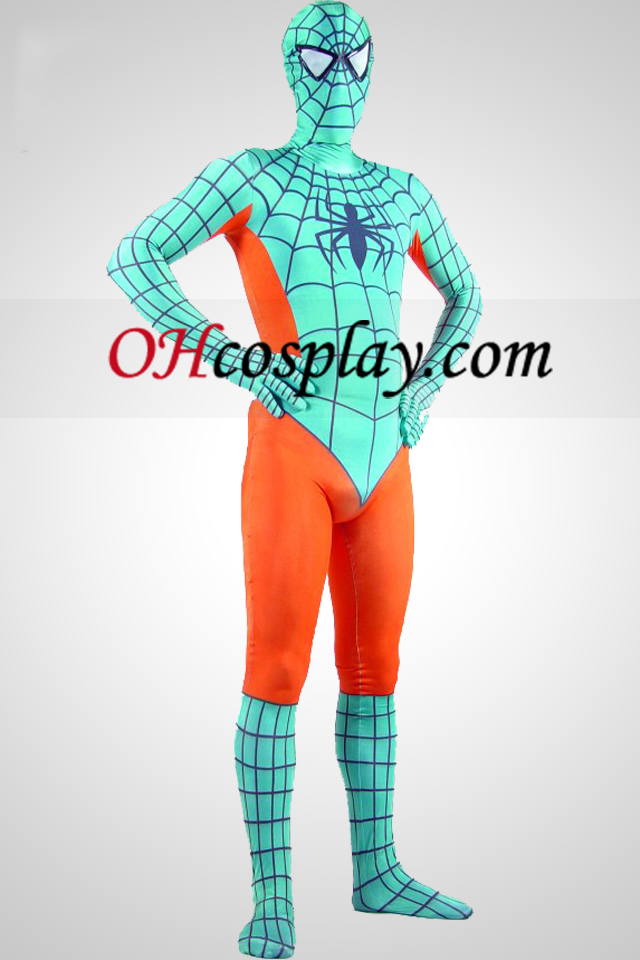Lys grøn og orange Lycra Spandex Spiderman Zentai Suit