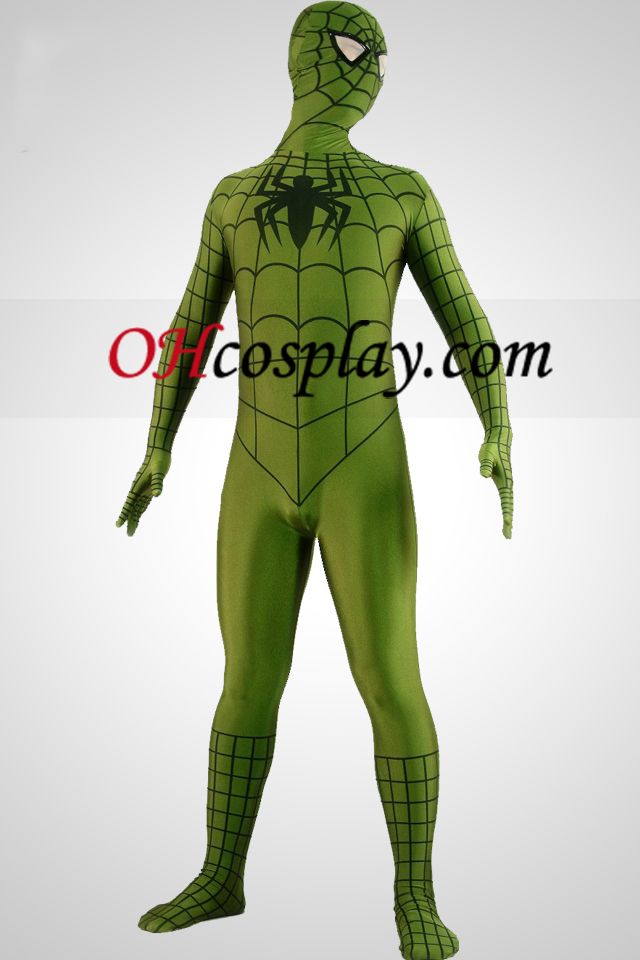 Army Green Spiderman Superhero Zentai öltönyök