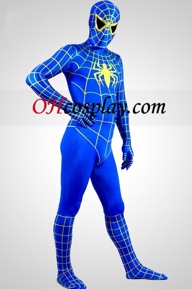 파란색과 노란색 라이크라 스판덱스 스파이더 맨 영웅 Zentai 옷 한 벌