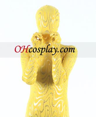 Yellow Gold Lycra Stripe Зентай Suit