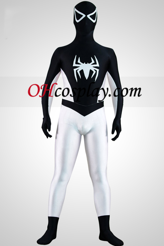 Polovica White Half Black Spiderman Superhero Zentai oblek