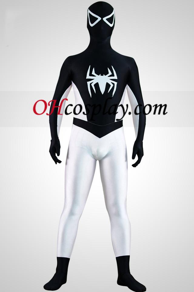 Metade Terno branco da meia Preto Spiderman Superhero Zentai