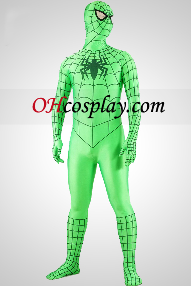 Grønn Spiderman Superhero Zentai Suit