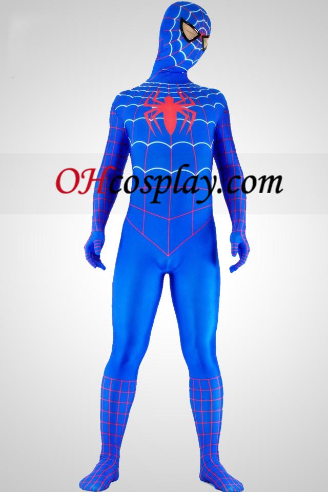 빨간색과 파란색 라이크라 스판덱스 스파이더 맨 영웅 Zentai 옷 한 벌