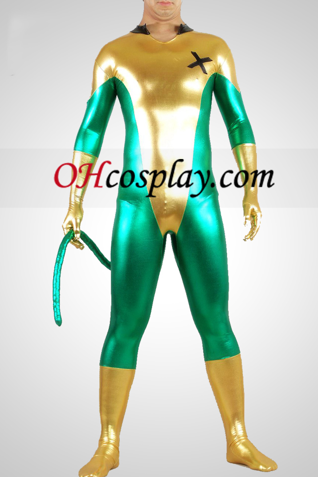 Shiny Metallic Green et jaune unisexe Zentai Suit avec la queue