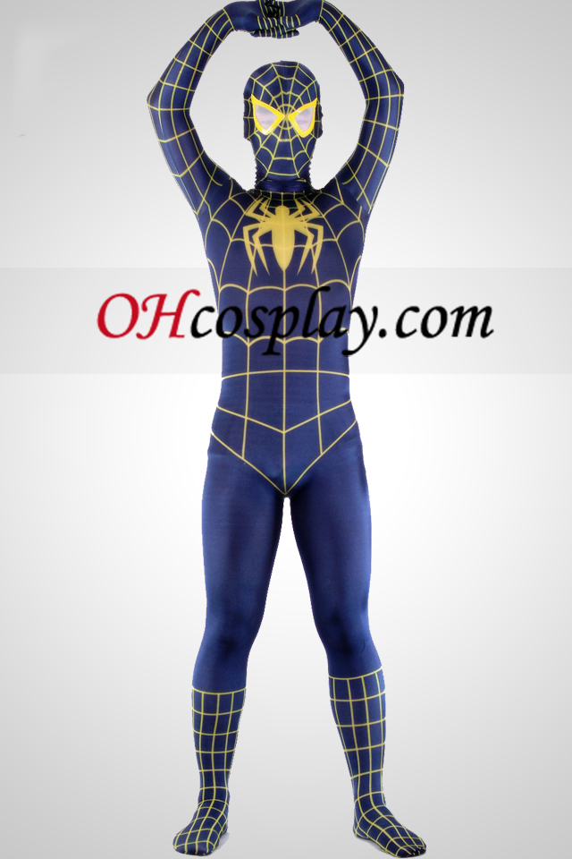 Blu E Giallo Lycra Spandex Spiderman Supereroe Zentai Suit
