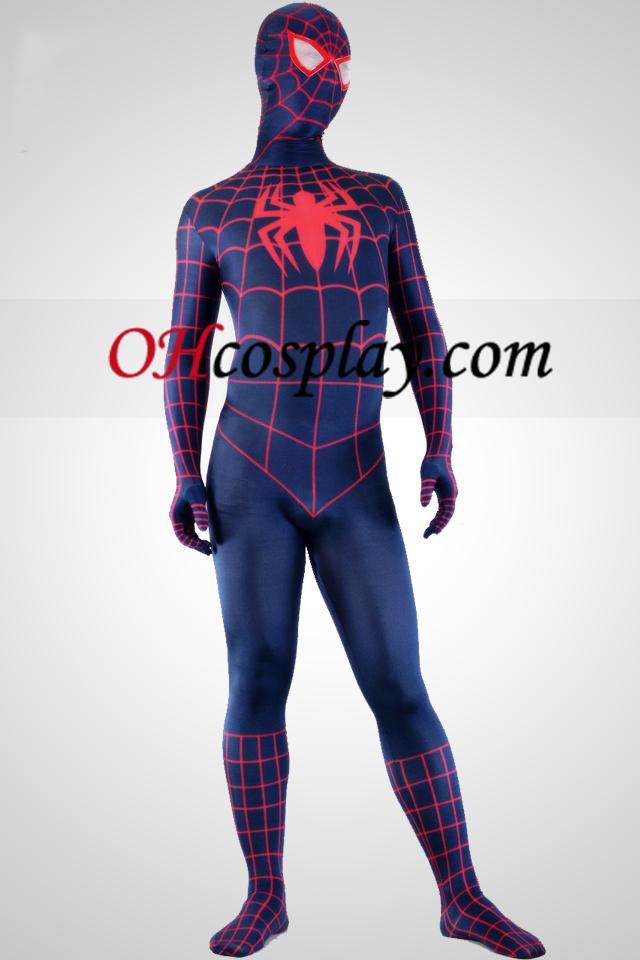 Profundamente terno azul e vermelha do super-herói Homem-Aranha Spandex Lycra Zentai