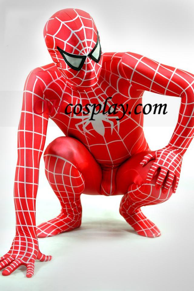 Червени и бели Lycra Spiderman Superhero Зентай Suit