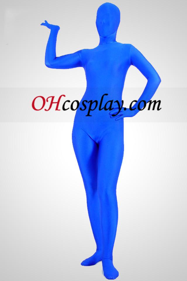 Bleu Lycra Spandex unisexe Zentai Suit