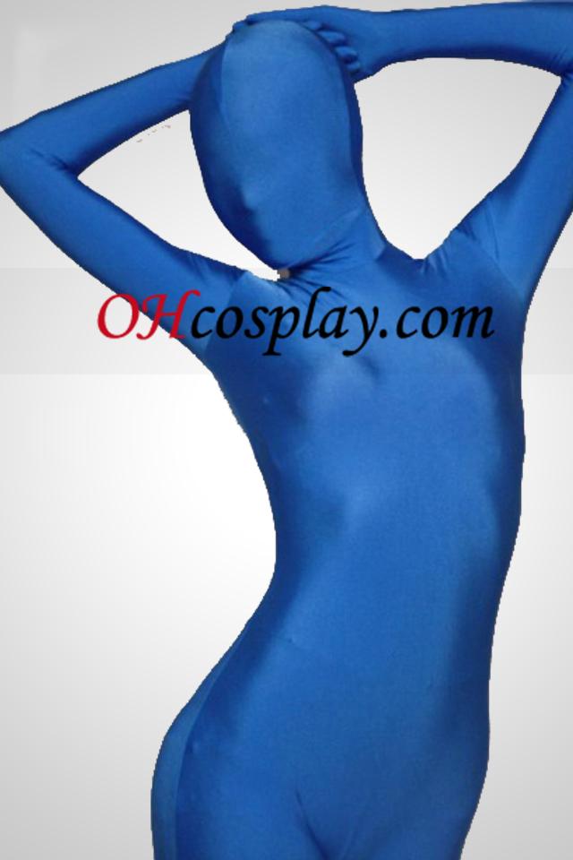 블루 일은 가득 차있는 몸 스판덱스 Zentai는 벌
