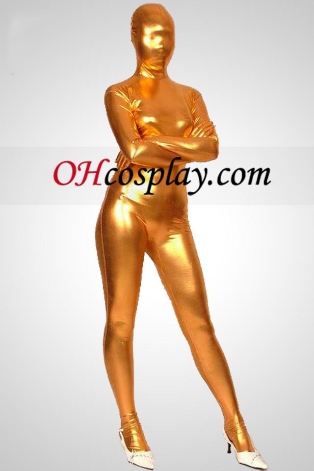 Ouro Full Body Unisex brilhante metálico Zentai Suit