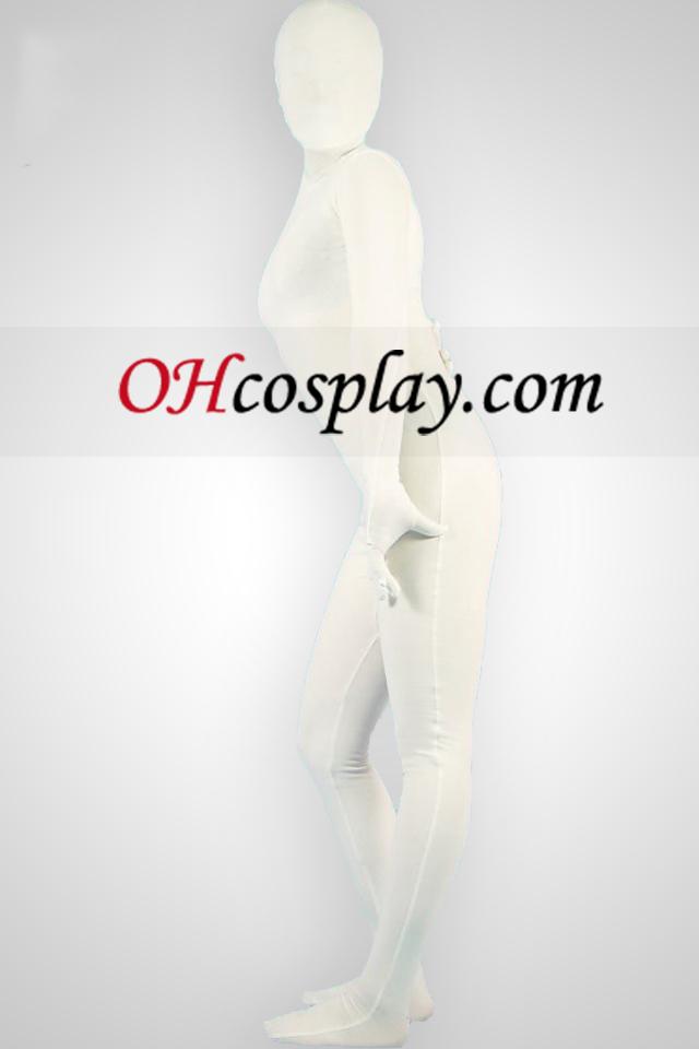 Biela Lycra Unisex Zentai oblek