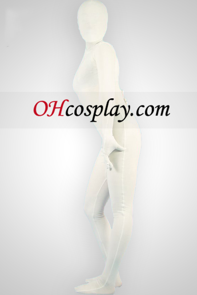 White Lycra Унисекс Зентай Suit