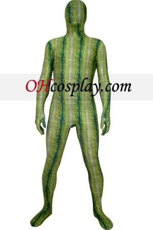 Green Digital Prints Lycra Zentai Obleky