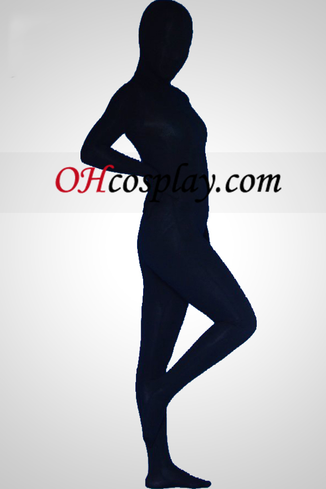 Black Cotton Lycra Unisex Zentai Suit