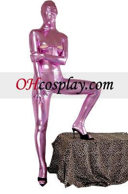 Pink Sexy Open Eyes And Bust Shiny Metallic Zentai