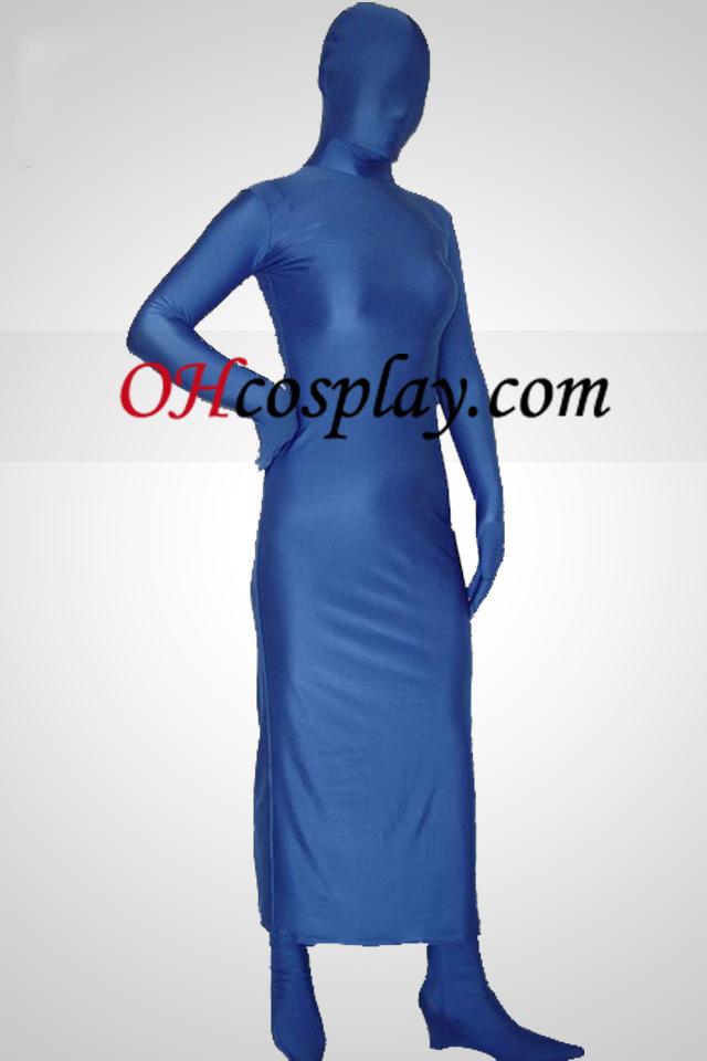 Blau Lycra Spandex Ganzkörper-Kleid