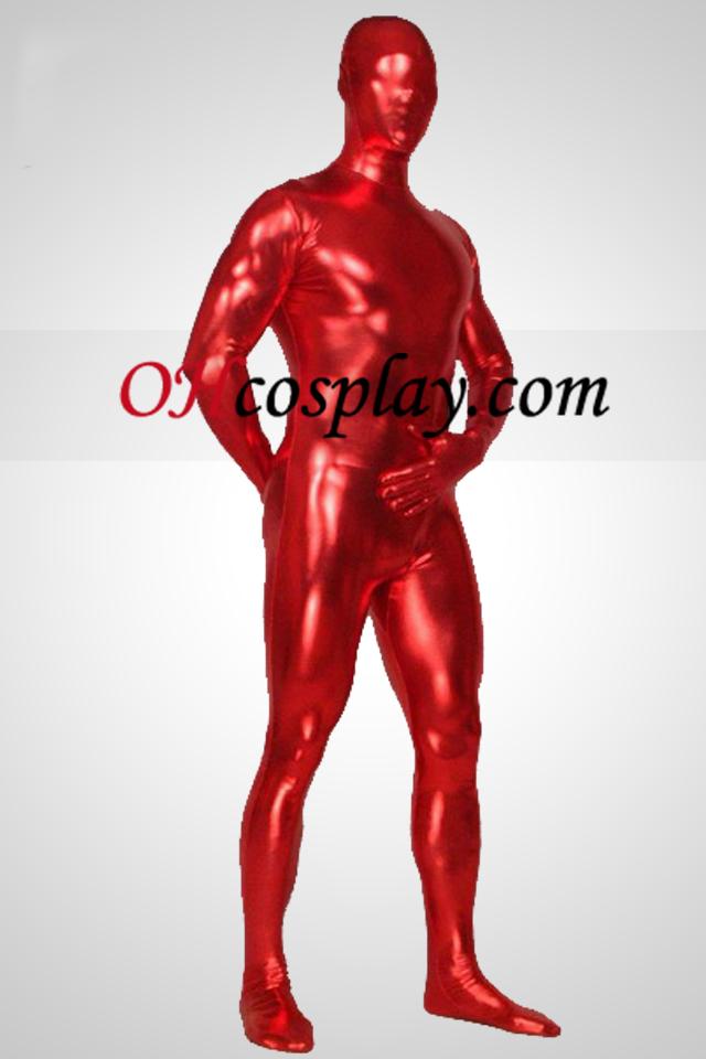 חליפה אדומה המבריק מתכתי גוף מלא לשני המינים מערער