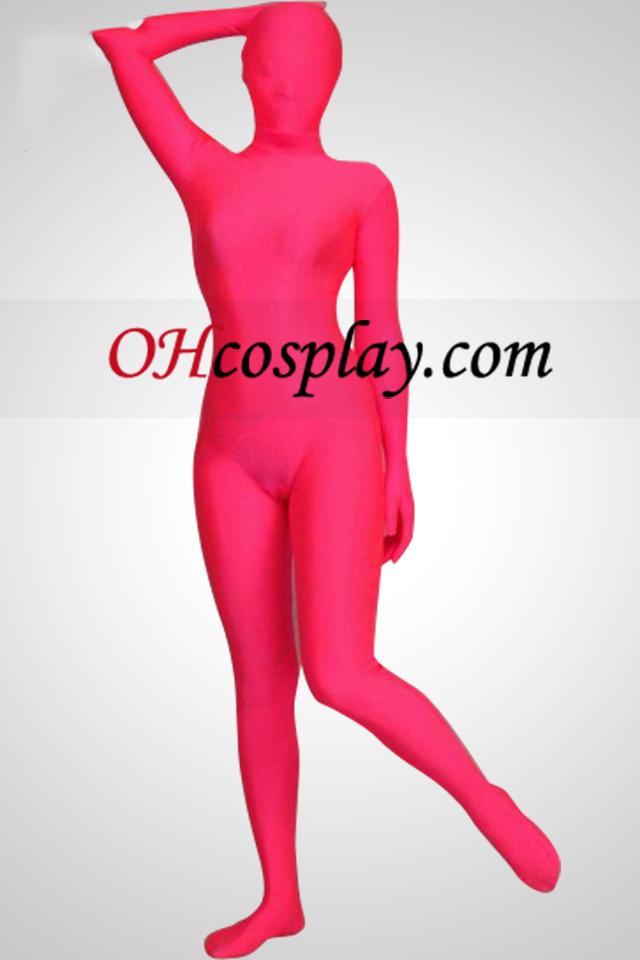 Rosa Cor de corpo inteiro Spandex Lycra Zentai Suit