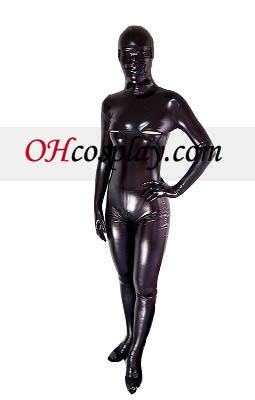 Black Sexy Open Oog En Bust Glanzend metallic Zentai