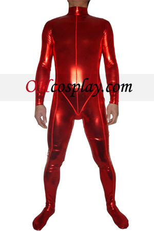 Red Shiny Metallic Zentai Suit