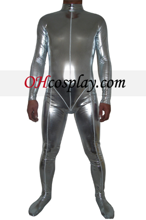 Prata metálico brilhante Zentai Suit