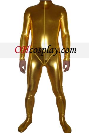 Shiny Gold Metallic Зентай Suit