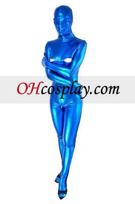 Blå Sexy åpne øyne og Bust Shiny Metallic Zentai
