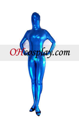 Blue Sexy Back Zipper Closure Shiny Metallic Zentai