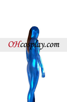 블루 섹시한 뒤 지퍼 마감 빛나는 금속 Zentai는