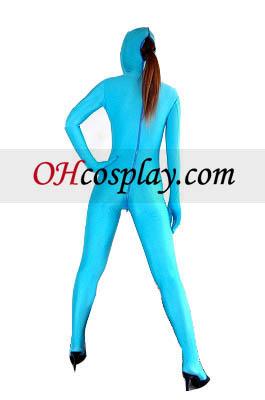Abra os olhos Light Blue Sexy Boca Spandex Lycra Zentai