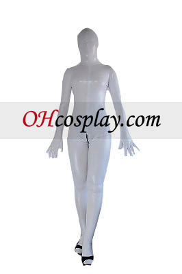 White Sexy Back Zipper Shiny Metallic Zentai