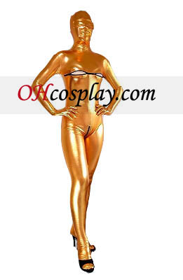 Gold Sexy Female Open Bust Open Crotch Shiny Metallic Zentai