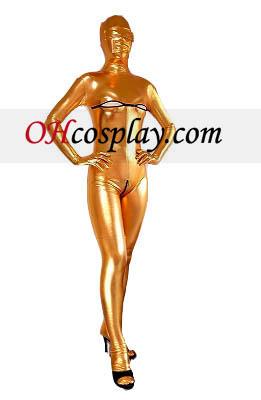 금 섹시한 여자 오픈 가슴 열려있는 가랑이 빛나는 금속 Zentai는