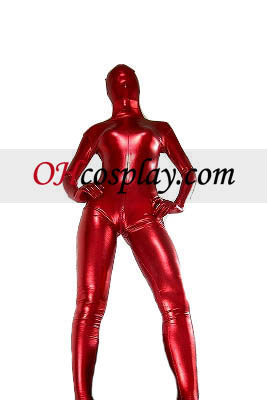Red Sexy Unisex Shiny Metallic Zentai