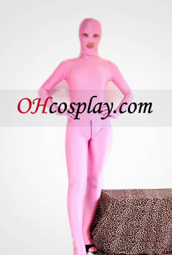 Pink Open Eye And Mouth Lycra Spandex Zentai