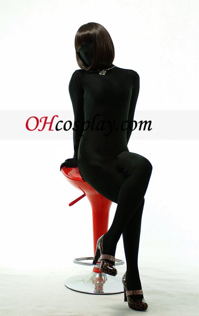 블랙 남녀 공통 모양 단색의 Zentai는