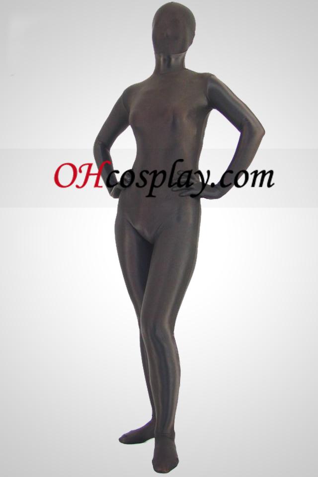 Brown Unicolor Lycra Spandex Zentai-Anzug