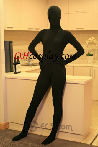 Fekete Egyszínű Lycra Spandex Zentai öltönyök