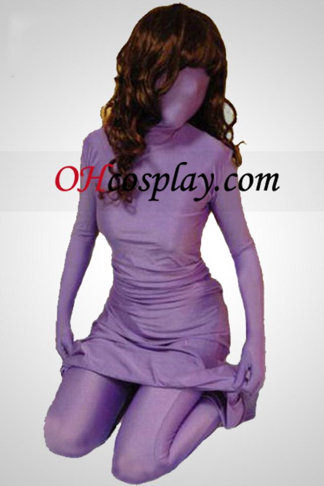 퍼플 라이크라 스판덱스 드레스