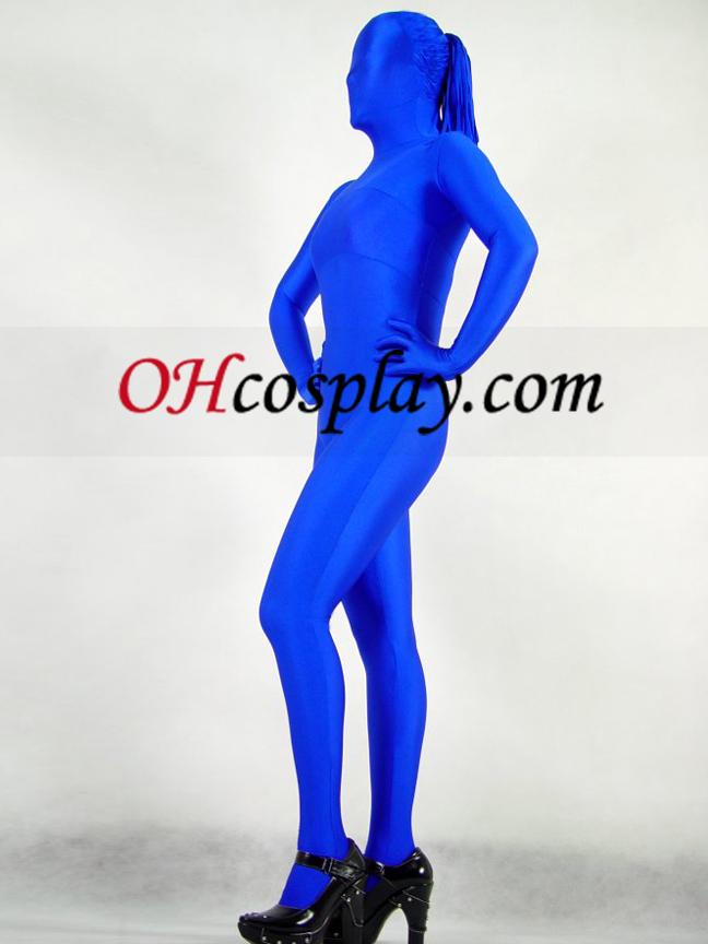 Blau Lycra Zentai SPÄNEX Weiblich Mit Haar