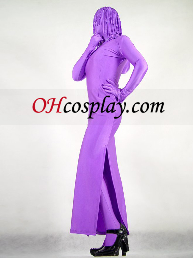 Lila Lycra Spandex Zentai Mit Female Rock-Art