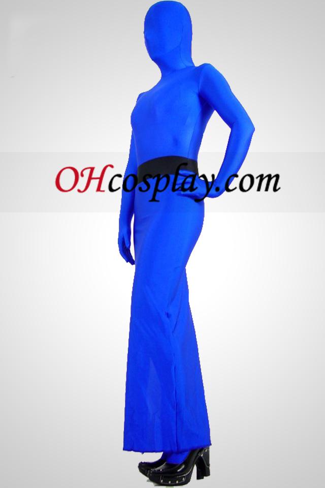 Azul completa Lycra Corpo Spandex Vestido