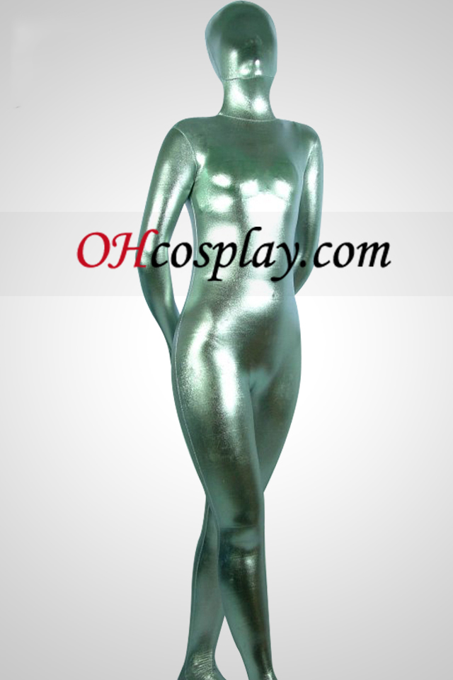 Silber Metallic Look Zentai Anzug