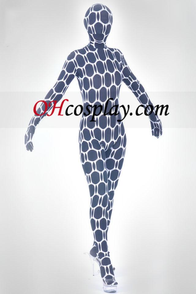 Black Honycomb Pattern Lycra Spandex Unisex Zentai