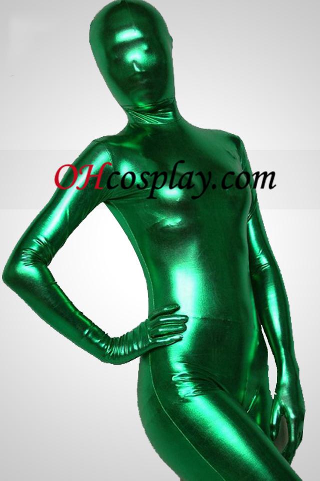 녹색 빛나는 금속 가득 차있는 몸 남녀 Zentai는 벌