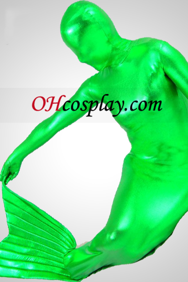 Grønn skinnende metallisk Mermaid Zentai Suit