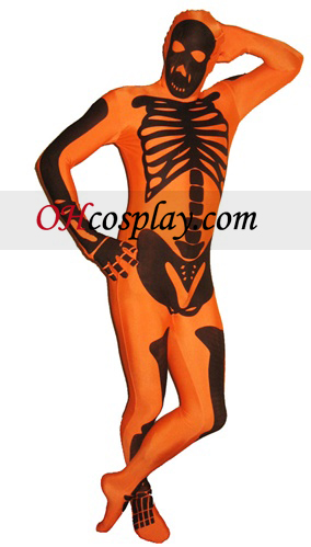 Orange Skeleton Lycra Zentai Suit