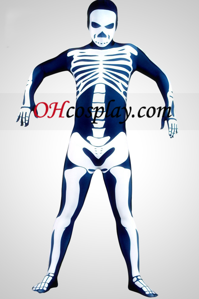 Skeleton Man Lycra Superhero Зентай Suit