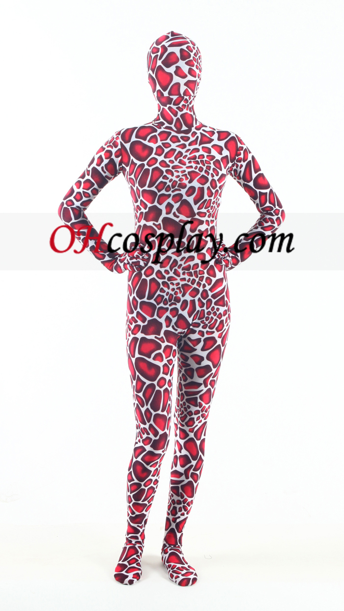 Red Giraffe Lycra Зентай Suit